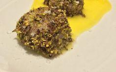 Capasante in crosta di pistacchi con crema all'arancia