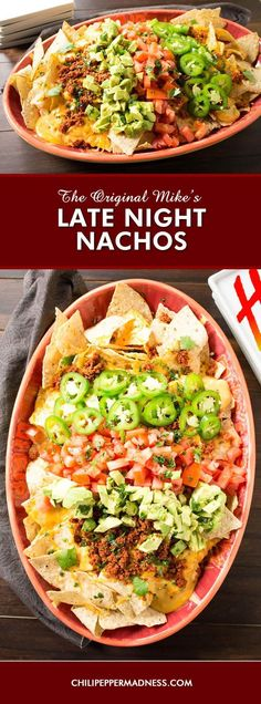 The Original Mike's Late Night Nachos - This is the easiest recipe for homemade nachos to make, yet also the most satisfying, made with corn tortilla chips, salsa con queso, shredded cheddar, chorizo, jalapeno slices, fresh avocado and tomato. Perfect for parties, tailgating and late night gatherings. My friends can't get enough of these late night nachos.