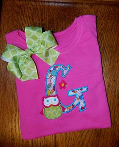 Appliqued Girls Owl Monogram Shirt or by JackNJillEmbroidery, $23.00