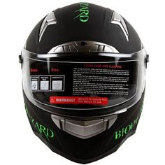 Bio-hazard Matte Black Dual Visor Full Face Motorcycle Helmet DOT (S)