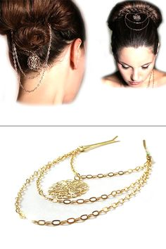 Victorian gold bridal hair pin jewelry by meydalle on Etsy