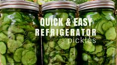 These quick and easy refrigerator pickles are sweet and tangy- and the perfect thing to make with all those fresh grown cucumbers from your garden!