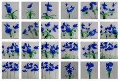 Flores Azules realizadas con botellas de plástico recicladas  Blaue Blumen  Blue Flowers