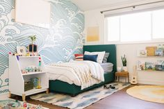 by Heidi jo Wells - Finn's California Coastal Cool Big Boy Room Reveal — Occasionally Perfect . by Heidi jo Wells DHP Green Linen Upholstered Twin Bed Boys Room Decor, Bedroom Decor, Kids Room Rugs, Lego Bedroom, Minecraft Bedroom, Childs Bedroom, Bedding Decor, Rustic Bedding, Modern Bedding