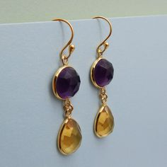 Double Faceted Multi Gemstone Handmade Sterling by darlingpiece