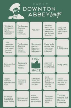 Pine Cones and Acorns: Downton Abbey Countdown 2 Days bingo