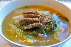 Korean cabbage soup with fermented soybean paste. Baechu Deonjang Guk or Baechu Dwenjang Gook (배추 된장국) is a Korean comfort food to soothe the stomach and soul.  | Kimchimari.com