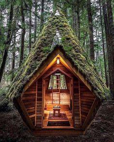 Fantastic forest cabin that is all covered with moss from the outside. Wooden exterior for cozy little moments in the woods. A Frame Cabin, A Frame House, Tiny House Cabin, Tiny House Design, Loft Design, Forest Cabin, Cabin In The Woods, Das Hotel, Cabins And Cottages