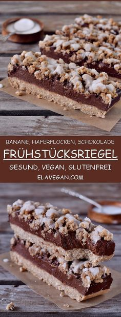 Breakfast bar with chocolate vegan, gluten free Elavegan - Air Fryer Recipes Healthy Dessert Recipes, Healthy Desserts, Easy Desserts, Vegan Recipes, Vegan Sweets, Vegan Food, Breakfast Bars Healthy, Oatmeal Breakfast Bars, Healthy Bars