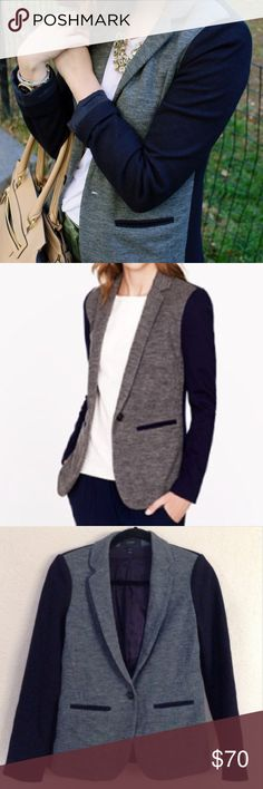 J.Crew Gray & Navy Colorblock Slim Blazer Preloved blazer in great condition. Colorblocking at its finest in this chic blazer! Spun in an easy-to-wear wool and cotton mix, its sophisticated navy and charcoal construction reinforces this blazer's sleek silhouette. All blue on back side. Slim fit. Front button.❌NO TRADES OR PAYPAL❌ J. Crew Jackets & Coats Blazers