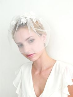 Lace wedding veil bridal veil blusher face veil mini by woomipyo, $55.00