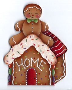 The Decorative Painting Store: Ginger's Home Painting Pattern by Pamela House Gingerbread Decorations, Gingerbread Ornaments, Christmas Gingerbread House, Christmas Wood, Christmas Pictures, Gingerbread Man, Gingerbread Cookies, Vintage Christmas, Christmas Crafts
