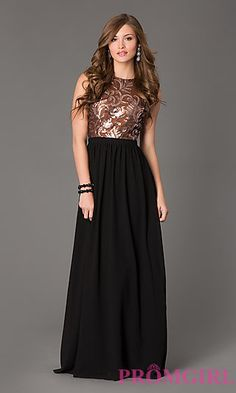 Sequin Sleeveless Open Back Floor Length Gown at PromGirl.com