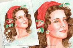 Mesi Illustrati: Aprile #visodidonna #ritratto #illustrazione #bellezza #fiori #frutti #foglie #mesidellanno