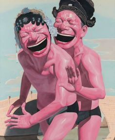 Yue Minjun- The Lovers   Oil on canvas