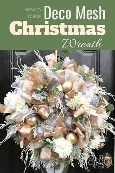 Learn how to make this elegant Deco Mesh Christmas Wreath in Champagne Gold. Julie, of Southern Charm Wreaths, shows you the step by step instructions and gives you a video demonstration. Perfect wreath for your Christmas Decor!