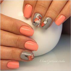 Розовый персиковый серый лиса
