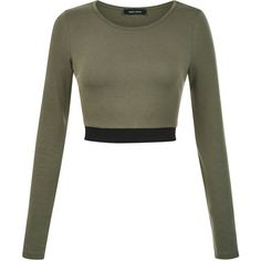 Olive Green Elasticated Hem Long Sleeve Crop Top ❤ liked on Polyvore featuring tops, crop tops, shirts, white long sleeve top, cropped tops, olive shirt, long sleeve tops and army green shirt