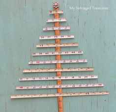 My Salvaged Treasures: Tree made with tape measures and a yard stick.