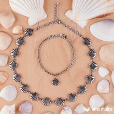Choker/gargantilha e pulseira de conchinhas! <3  #amomuitoacessorios…