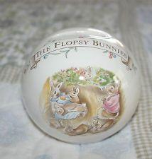 "1986 Royal Albert Beatrix Potter Round Porcelain Bank ""The Flopsy Bunnies"""