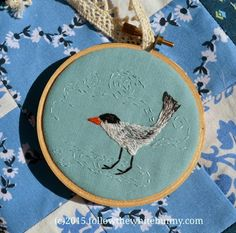 Birds & Bears looking for a New Home - Follow the White Bunny. #embroidery