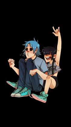 2D and noodle!!!! And is noodle's shirt supposed to say Gorillaz..... Cuz it looks like Gorrilaz to me..... Comment what you think!!!!