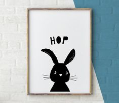 Woodland Nursery Decor Rabbit Print Nursery Animal Baby