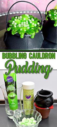 These Halloween Witch Party Food Cauldron Pudding Pots with sparkly green icing are just what you need to complete your Halloween table of treats! No baking or skills required.just spoon pudding and decorate! Halloween School Treats, Halloween Dinner, Halloween Table, Halloween Food For Party, Halloween Desserts, Halloween Birthday, Couple Halloween, Easy Halloween, Halloween Camping