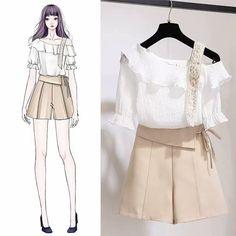 Pin by Elaine Gaspar on costura in 2019 Cute Fashion, Asian Fashion, Look Fashion, Girl Fashion, Womens Fashion, Fashion Trends, Fashion Drawing Dresses, Fashion Dresses, Mode Kpop