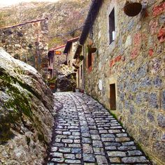 Remote Village Bulnes, Picos de Europa, Asturias, Spain    This path was walked by men on mules carrying provisions and belongings and also by postal workers. This route was not very much used during winter because it was hidden by the snow.