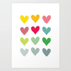 Heart pattern art <br/> <br/> This colourful wall art is the perfect addition to a baby's nursery or a teenager's bedroom, and it also makes a lovely anniversary or wedding gift. <br/> <br/> art for kids, love heart art, nursery artwork, modern wall decor, hearts illustration, heart pattern, contemporary design, valentine, anniversary gift, colourful wall art, colorful art print, modern, minimalist