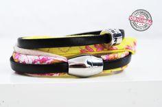 Armband gewickelt aus Leder und Stoff mit silbermetallic Effekten kombiniert & Magnetverschluss Wickelarmband für Frauen