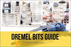 The complete list of Dremel bits and their uses explained in this detailed guide. See the best dremel bit for metal, wood, stone, glass etc. Dremel Bits Guide, Dremel Tool Bits, Dremel Tool Projects, Dremel Drill, Dremel Rotary Tool, Wood Projects, Dremel Sanding Bits, Best Dremel Tool, Dremel Parts