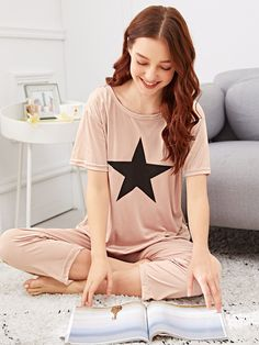 To find out about the Star Print Pajama Set at SHEIN, part of our latest Pajama Sets ready to shop online today! Sleepwear Sets, Loungewear Set, Sleepwear Women, Pajamas Women, Satin Pyjama Set, Pajama Set, Womens Pyjama Sets, Striped Pyjamas, Young Models
