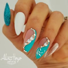 Beautiful teal blue white and gold gel nail designs with pearls and rhinestond a. - Beautiful teal blue white and gold gel nail designs with pearls and rhinestond accents - Gold Gel Nails, Teal Nails, White Nails, Glitter Nails, Gold Glitter, Matte Gold, Coffin Nails, 3d Nail Designs, Purple Nail Designs