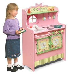 "Size: 24""W x 11-5/8""D x 34-1/2""H.  $72 Amazon Tea Party Wooden Kitchen with Stove and Sink by Badger Basket, http://www.amazon.com/dp/B004DI9MQI/ref=cm_sw_r_pi_dp_uB4Trb0MQT9CP. Cute Short on storage so impractical.. Can't work out the storage with those doors?"