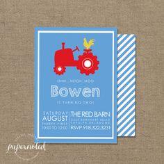 Tractor Birthday Invitation // Farm Birthday by papernoted on Etsy, $15.00