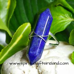 Lapis Lazuli Double Terminated Wand Ring Adjustable