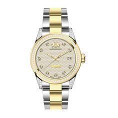 Luxurman Women's 'Tribeca' Yellow Gold-Plated Two-Tone 1 1/2ct TDW Watch