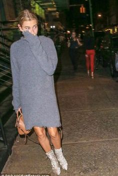 Hailey Baldwin wearing Givenchy Antigona Small Bag in Caramel, Celine Hoodie Dress and Julissa Crushed Velvet Lace Up Ankle Boots in Champagne