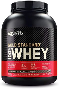 Amazon.com: Optimum Nutrition Gold Standard 100% Whey Protein Powder, Double Rich Chocolate, 5 Pound (Packaging May Vary): Health & Personal Care Whey Protein Gold Standard, Whey Protein For Women, Best Whey Protein, Best Protein Powder, Chocolate Protein Powder, Whey Protein Isolate, Chocolate Malt, Chocolate Chips, Protein Shakes