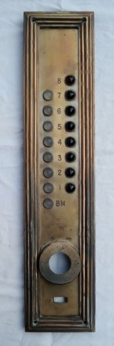 Vintage c. 1930's Art Deco Bronze Elevator Panel Glass Buttons ~ Filene's Boston