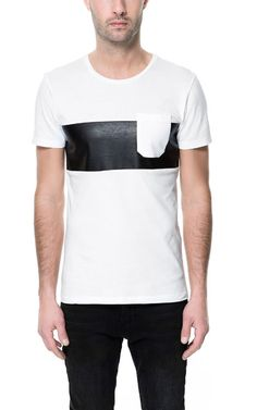 T-SHIRT WITH FAUX LEATHER STRIPE - T-shirts - Man - ZARA Russian Federation