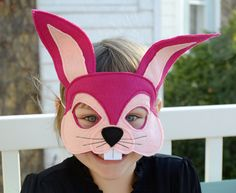 Handmade felt bunny rabbit mask by Flyingoxcreations on Etsy