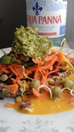Raw Vegan Open Faced Sprout Sammie: Mauk Family Farms Raw Wheat Free Crust (made with a combination  of Flax Seeds, Sesame Seeds, Sunflower Seeds, and other raw delicious, nutritious ingredients...) piled high with with Organic Shredded Beet, Organic Shredded Carrot, Organic Sunflower Sprouts, and Sunny Creek Farms Organic Crunchy Sprout Mix and then topped with Marietta's own Life Grocery Living Green Hummus and drizzled with chilled Pacific Natural Food's Cashew Carrot Ginger Soup.