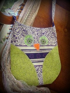 Owl Purse Childs Purse Owl Tote Green and Purple by AislingLane, $18.00