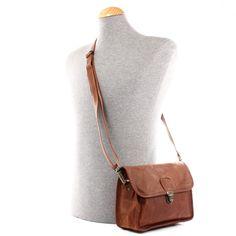 LECONI kleine Schultertasche Leder braun LE3041