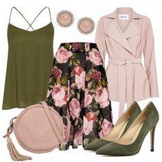 Wow, so ein schickes Outfit! Das Outfit besteht aus einem grünem Top, einem Blumenrock in Midi-Länge und grünen High Heels... #fashionista #fashion #modeikone #mode #damenmode #frauenmode #outfit #damenoutfit #frauenoutfit #frühling #inspiration #komplettesoutfit