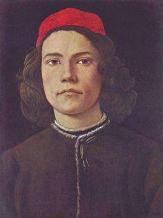 Sandro Botticelli.  Porträt eines jungen Mannes. Um 1483, Tempera auf Holz, 37,5 × 28,2 cm. London, National Gallery. Italien. Renaissance.  KO 02482